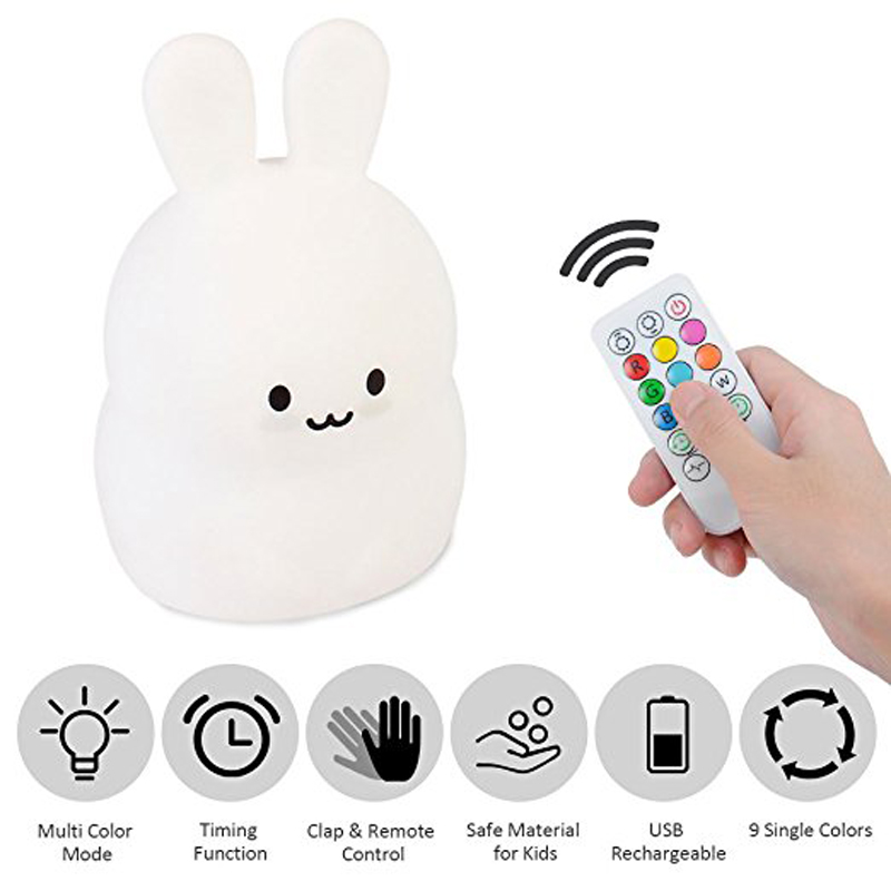Baby LED Night Light, Remote Control + Sensor Tap Control, 4 Modes and 9 Colors, USB Rechargeable, Silicone Nursery Lamp-Rabbit keyshare dual bulb night vision led light kit for remote control drones