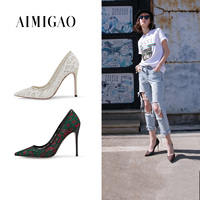 2018 Spring Fashion Green Red Lace Mesh Pointed Toe High Heel Pumps For Women Mixed Colors Ultra High Heel Women Shoes 10.5 cm