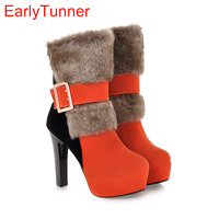 Hot Sexy Vert Noir Orange Femmes Mi-mollet Martin Bottes Plate-Forme pompes Dames Chaussures Talons hauts Boucle A160, Plus Grande taille 43 10