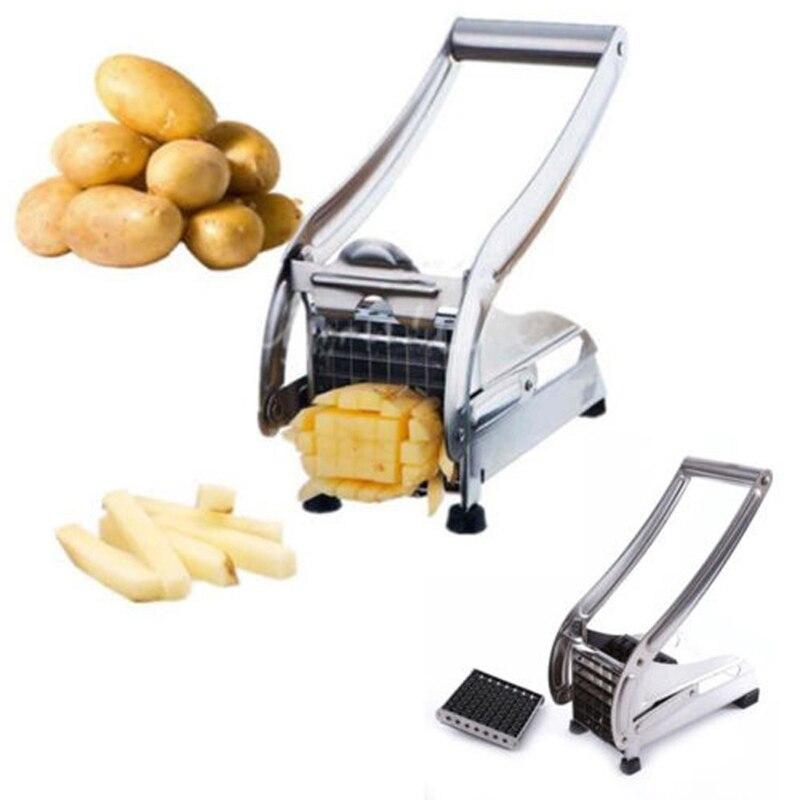 2 lames en acier inoxydable frite frites fabricant pommes de terre Chips bande outils de coupe légumes Cutter trancheuse Chopper cuisine Gadget