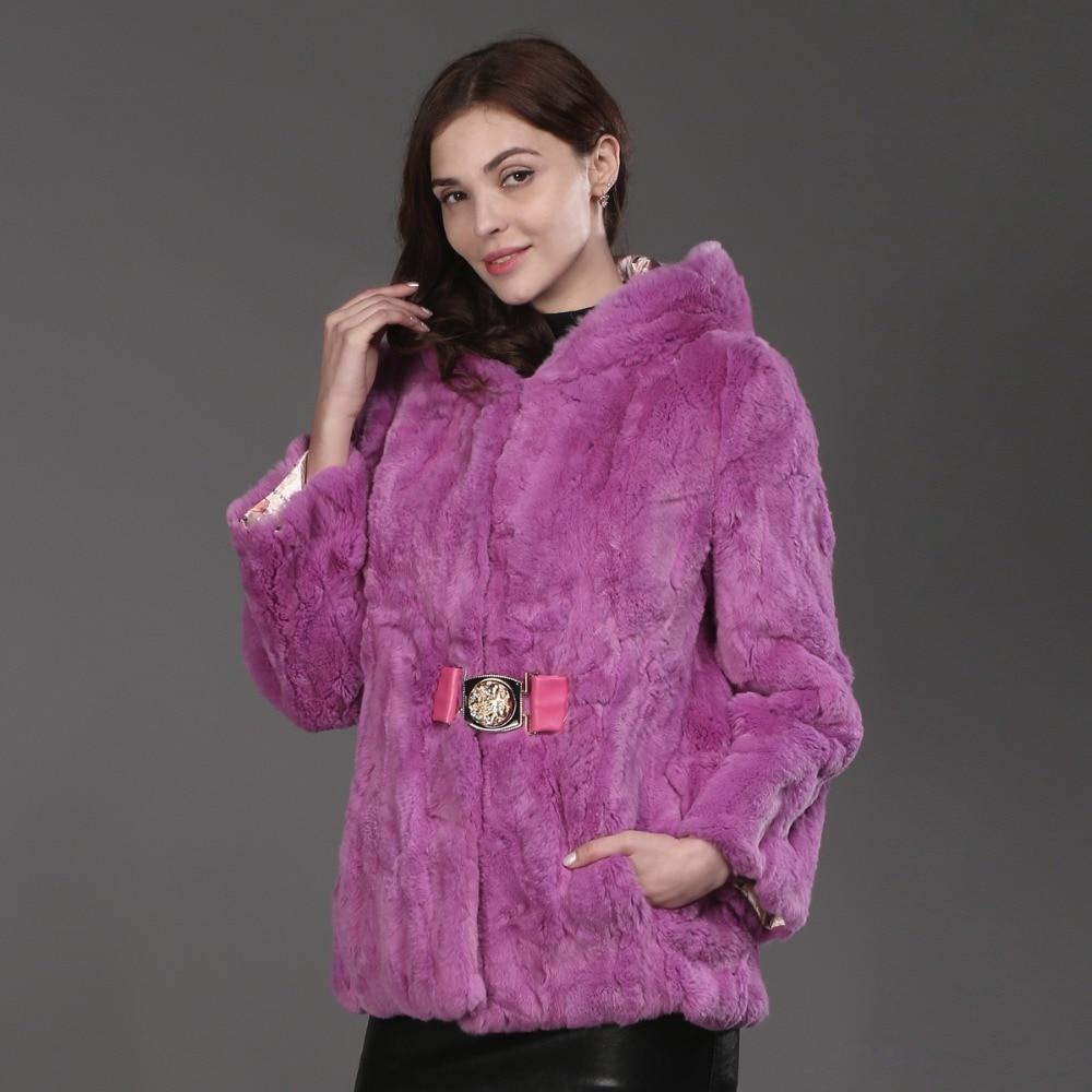 Gros Pink Fourrure 100 Épais À Lapin purple Détail Rex Manteau Veste Naturel De Au Réel Capuche 2017 Pardessus Chaud Mode YppwZ4xq