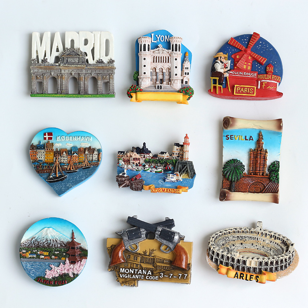Varies Resin City Tourist Souvenirs Fridge Magnet, Custom