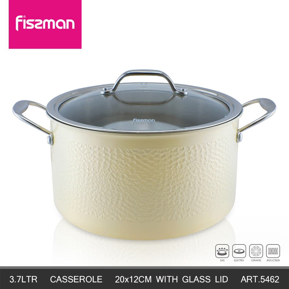 FISSMAN 2018 Hot Sale Eco-Friendly LFGB 20cm Induction 304 Stainless Steel Cookware Casserole With Glass Lid Soup Stock Pots