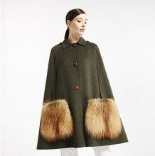 Arlene sain women 2017 new fur pocket woolen jacket army green shawl cloak hand double sided wool coat free shipping