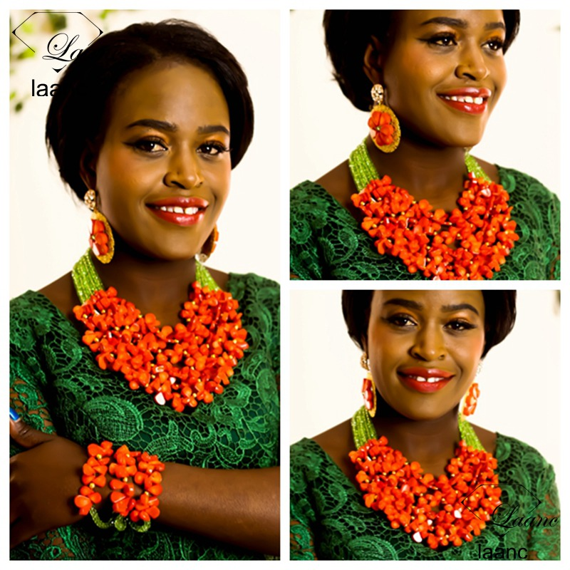Laanc Brand Nigerian Wedding African Coral Beads Jewelry Set Orange Coral and Light Green Crystal AL284Laanc Brand Nigerian Wedding African Coral Beads Jewelry Set Orange Coral and Light Green Crystal AL284