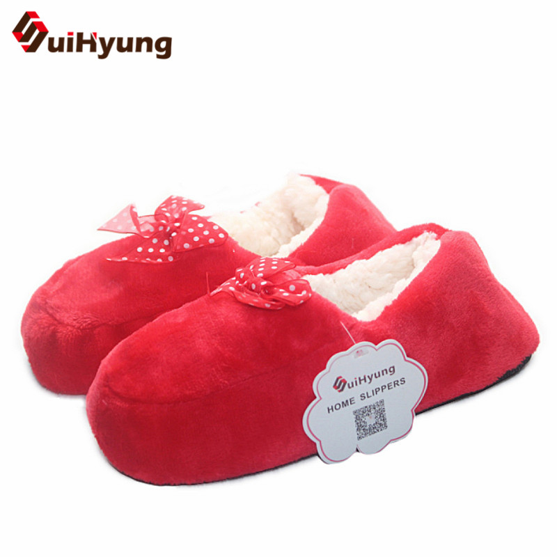 купить Suihyung New Women Winter Warm Home Slippers Plus Cashmere Indoor Shoes With Butterfly-knot Non-slip Soft Floor Female Slippers онлайн