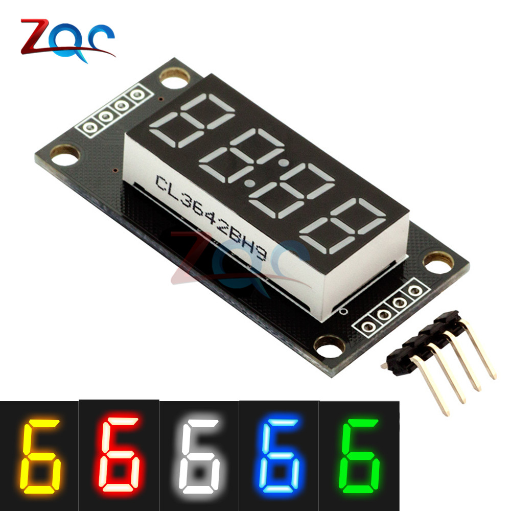 4-Digit LED 0.56 7 Segments Display Tube TM1637 Clock Double Dots Module size 30x14mm 0.56 inch For Arduino 5 color