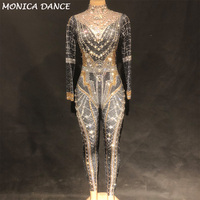 Women Classic Queen Sexy Stage Bodysuit Full Sparkling Crystals Stones Jumpsuit Party Celebrate Nightclub Performance Costume