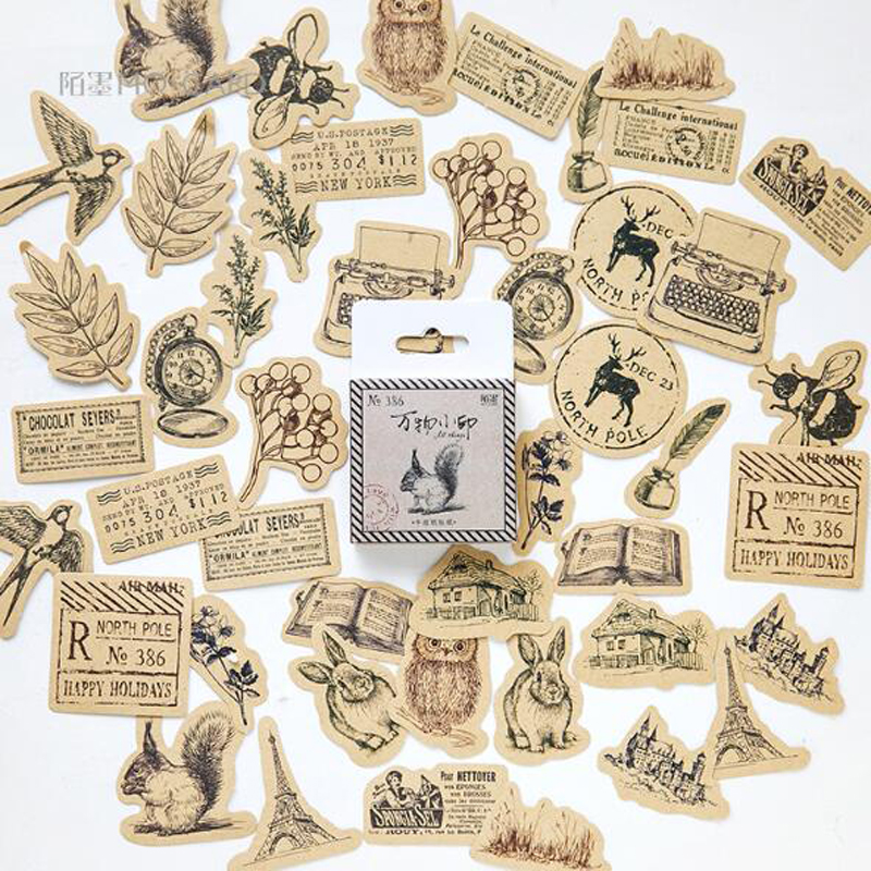 45pcs/box Creative Vintage Animal Sticker Squirrel Owl Leaves Photo Album Scrapbook Decor Diary Label Bullet Journal Sticker