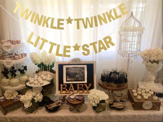 FunPa Party Brief Banner Papier Twinkle Twinkle Little Star Patroon Party Banner Glitter Banner Voor Baby Shower Party Decor Nieuwe