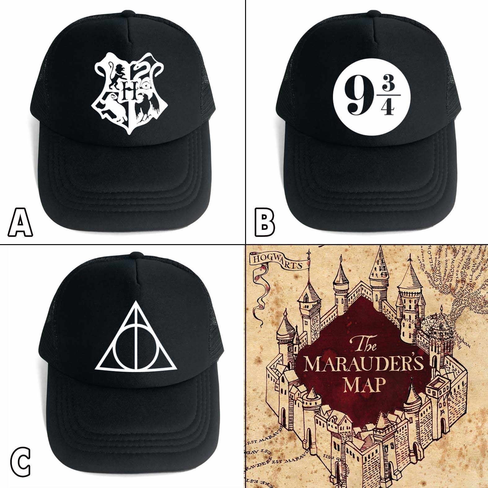 c281dffc866 OHCOMICS For Harri Potter Fan HP Harry Hogwarts Deathly Hallows Black  Cotton+Polyester Hat Cap