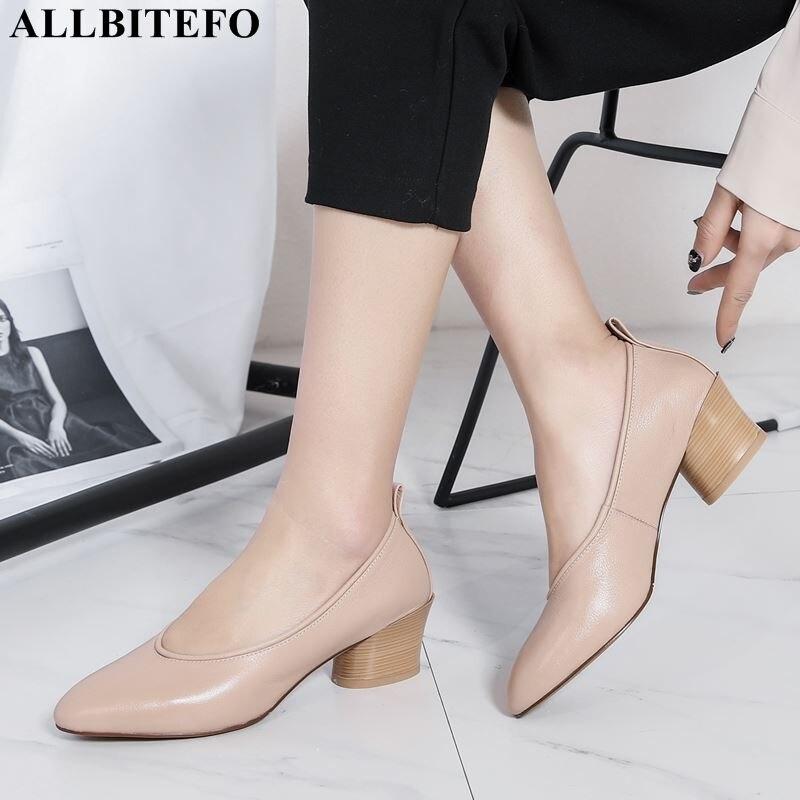 ALLBITEFO Full Genuine Leather High Heels Office Ladies Shoes High Quality Women High Heel Shoes Party Women Shoes Women Heels