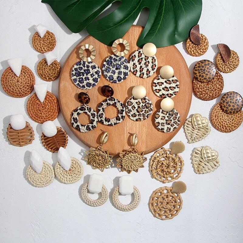 Flatfoosie nouvelle corée ronde boucles d'oreilles pour femmes naturel géométrique en bois bambou paille armure rotin tricot vigne plage boucle d'oreille 2