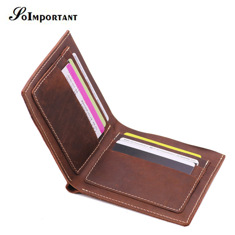 Genuine Leather Small Mini Ultra-thin Men Wallets Crazy Horse Purse Handmade Wallet Cowhide Card Holder Slim Short Portefeuille crazy horse leather billfolds wallet card holder leather card case for men 8056r 1
