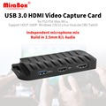 MiraBox карта захвата, 4 K 30FPS, HD 1080 P 60FPS, USB3.0 HDMI игра Карта видеозахвата с микрофоном Вход и мультимедийный интерфейс высокой четкости транзитная ...
