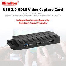 MiraBox карта захвата, 4 K 30FPS, HD 1080 P 60FPS, USB3.0 HDMI игра Карта видеозахвата с микрофоном Вход и мультимедийный интерфейс высокой четкости транзитная пересылки
