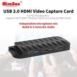 MiraBox Scheda di Acquisizione, 4 K 30FPS, HD 1080 P 60FPS, USB3.0 Gioco HDMI Scheda di Acquisizione Video con Ingresso Mic e HDMI Passthrough