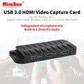 MiraBox tarjeta de captura de 4 K 30FPS HD 1080 P 60FPS... tarjeta de captura de vídeo USB3.0 HDMI con entrada de micrófono y entrada HDMI