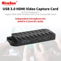 MiraBox yakalama kartı, 4 K 30FPS, HD 1080 P 60FPS, USB3.0 HDMI Oyun Video yakalama kartı Mikrofon Girişi ile ve HDMI Geçidi
