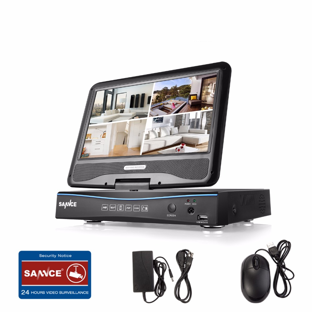 SANNCE 720P HD 10 1 LCD Monitor Video Monitoring with 1080N 4CH 8CH DVR NVR HVR
