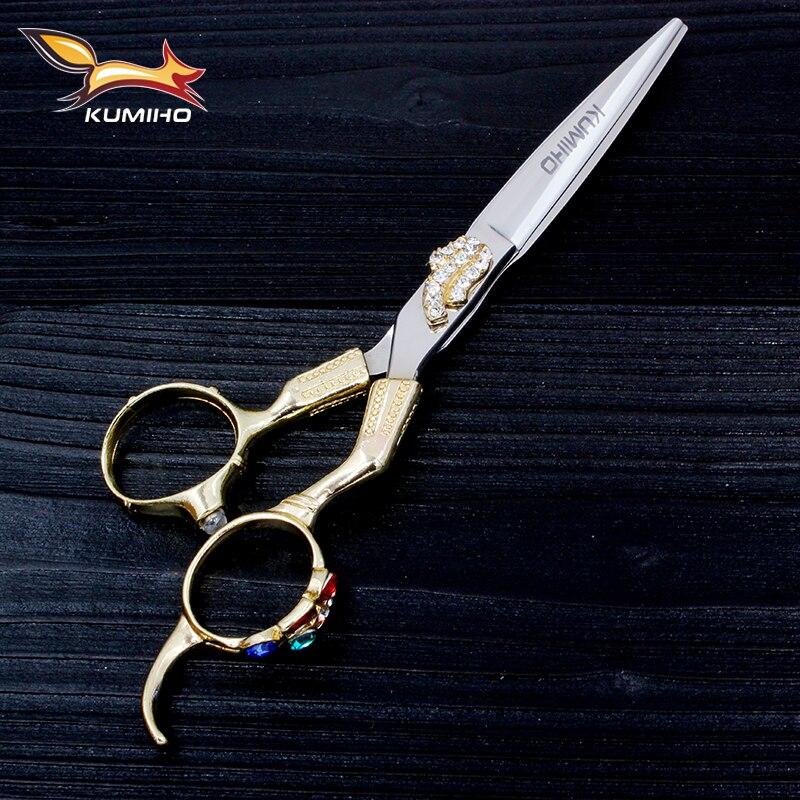 "KUMIHO 일본 스테인레스 스틸 헤어 가위 최고의 헤어 커팅 가위 6 ""다이아몬드 같은 장식과 440C baber 머리 전단"