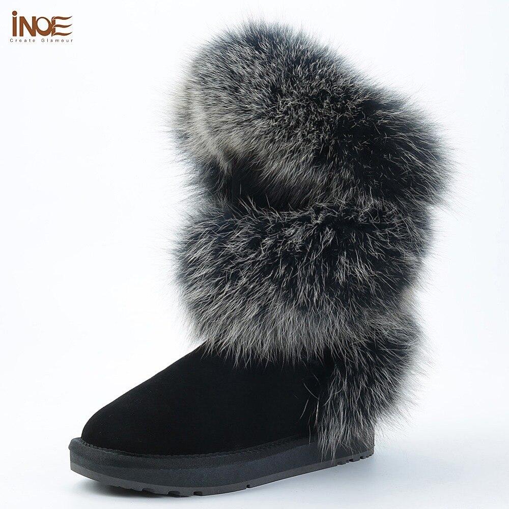 INOE сапоги женские зимние модный стиль натуральный лисий мех коровья кожа женская высокая зимняя обувь на плоской подошве зимние сапоги кор