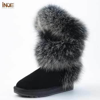 INOE Luxurious Fashion Soft Arctic Fox Fur Winter Boots for Women Knee High Keep Warm Snow Boots Cow Suede Leather Black Grey - DISCOUNT ITEM  48% OFF All Category