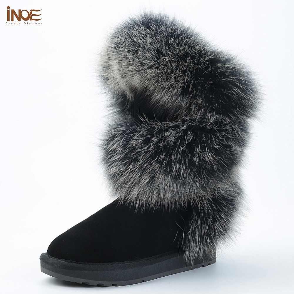INOE Yeni Lüks Moda Arctic Tilki Kürk Kış Botları Kadın Diz Yüksek Sıcak Kar Botları Tutmak Inek Süet Deri siyah Gri