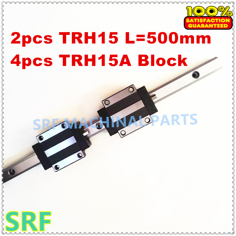 2pcs Linear Guide Rail TRH15 L 500mm 15mm width 4pcs TRH15A Linear Rail Flange block for