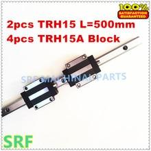 2 stücke Linearführungsschiene TRH15 L = 500mm 15mm breite + 4 stücke TRH15A Linearschiene Flansch block für cnc