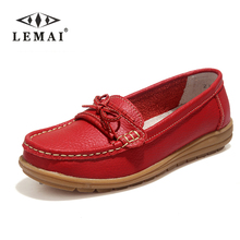 Shoes Woman 2017 Genuine Leather Women Shoes Flats 4Colors Loafers Slip On Women's Flat Shoes Moccasins #WD2872(China)