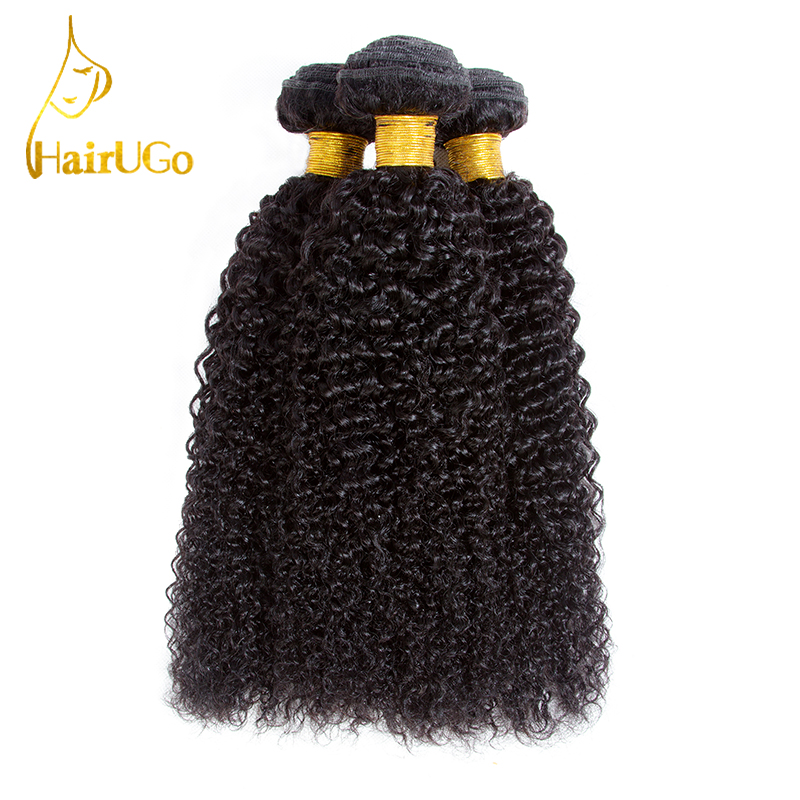 HairUGo Hair Pre-colored Hair Indian Kinky Curly Wave Hair 3 Bundles Human Hair Extensions Non Remy Free Shipping #1B