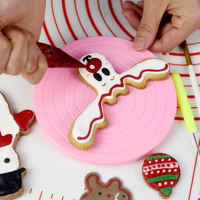 2018 кухонная мини-тарелка для торта вращающаяся декоративная подставка на платформе поворотный стол круглый вращающийся Торт Поворотный Рождественский инструмент для выпечки