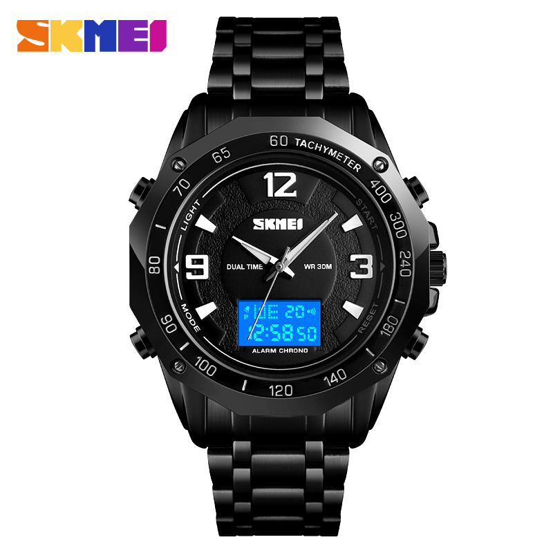 <font><b>SKMEI</b></font> <font><b>1504</b></font> Sport Men Digital Wristwatches Double Time Display Business Waterproof Luminous Silver/Black Colors Relogio Masculino image