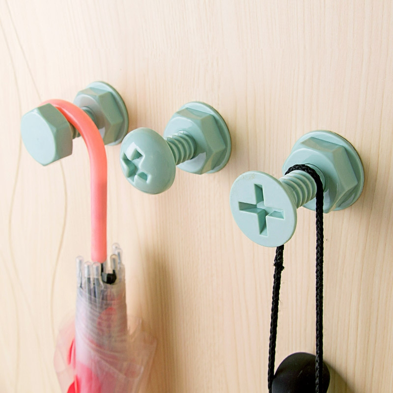 3pcs Storage Hook Kitchen Screw Shape Wall Bathroom Self Adhesive Stick On Wall Door Tile Towel Hanger Holder Hooks Hanging New