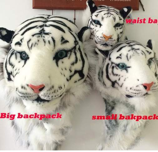 ANAWISHARE 3D Tiger Head Backpack Cartoon Animal Lion Bags White Women Men  Casual Daypacks for Travelling