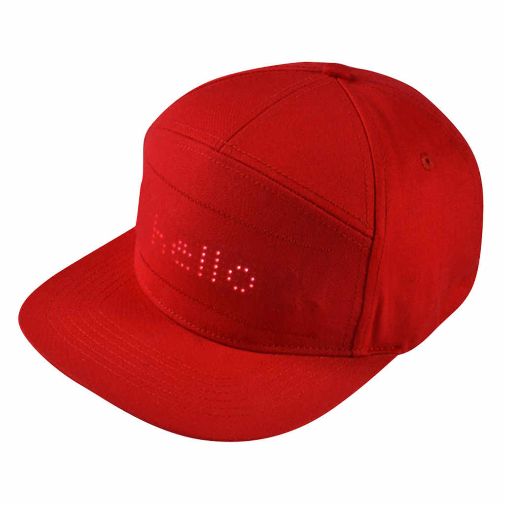 Hat With LED Display Men Baseball Caps New Year's Party Hat Solid Color Night Hats Casual Simple Unisex Baseball Cap #G30