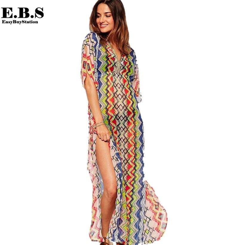 Europe Style Summer Womens Sexy Side Slit Chiffon Maxi Long Beach Cover Dresses Beachwear Kaftan, Fashion Printing Wear - Easy Buy Station store