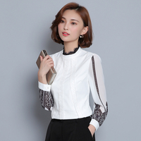 New Women Casual Basic Autumn Winter Lace Chiffon Blouse Top Shirt Full Sleeves Shirt Patchwork OL