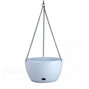 Image 2 - Plastic Hanging Basket Flower Pot Holder With Chain Succulent Plants Vase Round Shape Colorful Gardening Potted Home Decoration