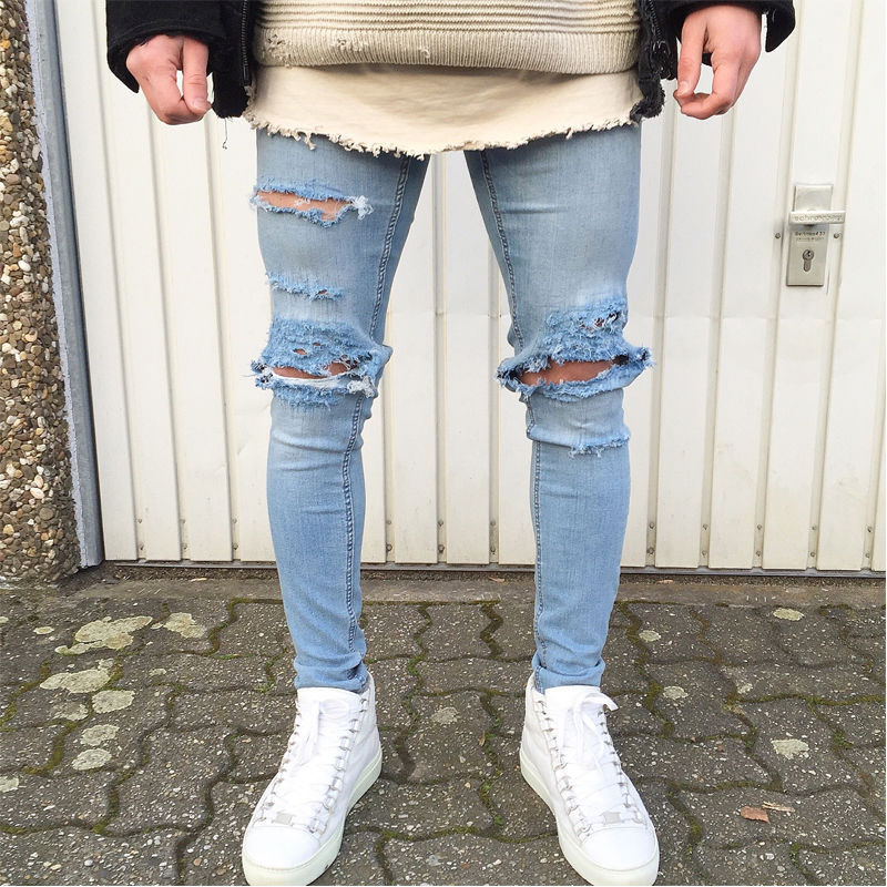 UK Fashion Mens Slim Moto Biker Denim Jeans Skinny Frayed Pants Distressed Rip Trousers Casual Pencil Pants men s casual pleated stretch denim biker jeans for moto pockets cargo pants slim long trousers