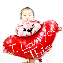 10pcs/lot High quality lovely bear balloon with heart love foil ballon Kids Child Gift for wedding party decoration globos