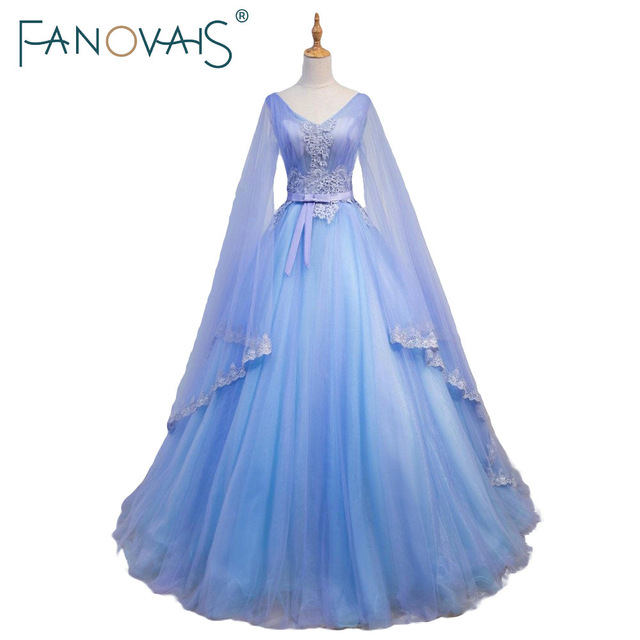Gorgeous Medieval Wedding Dresses V Neck Blue And Purple Tulle Gowns With Long Sleeves Large