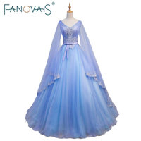 Gorgeous Medieval Wedding Dresses V Neck Blue And Purple Tulle Wedding Gowns With Long Sleeves Large