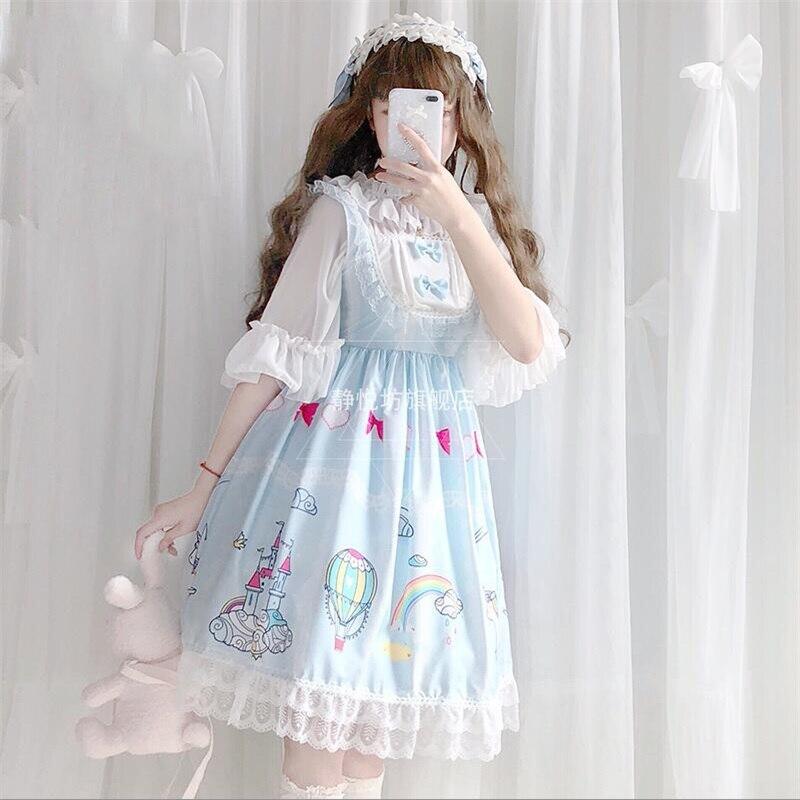 Fée Kei été belle arc-en-ciel imprimé dentelle garniture arc Jsk robe élégante Kawaii princesse femmes Lolita sans manches robe de poupée