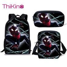 Thikin School Bag Set 3pcs Kids Backpacks Spiderman Mochila Escolar Infantil Children Pencil Shoulder Book Bags Boys Girls Gifts