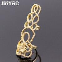 Jinyao moda nudillo filigrana Flor Mariposa ZIRCON completo Piedras oro color anillo largo del diseño para las mujeres joyería g07-1