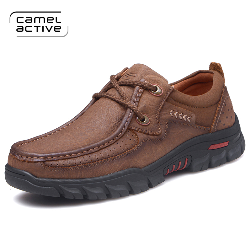 цена Camel Active New Mens Casual Leather Shoes British Fashion Genuine Leather Brogue Shoes Men Flats High Quality Outdoor Shoes