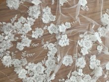 1 Yard Off White 3D Blossom Pearl Beaded Lace Fabrc Sequin French Tulle Embroidered lace, Wedding Bridal Gown 140cm wide