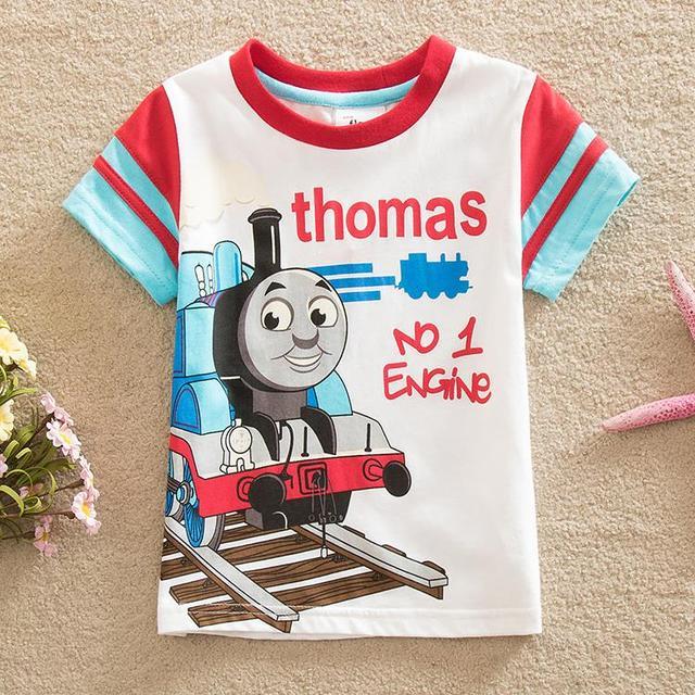 Banderas envío gratis primavera 2016 bebés y niños novela interesante Camiseta niño de dibujos animados de algodón de manga corta cuello redondo T-shirt B8101